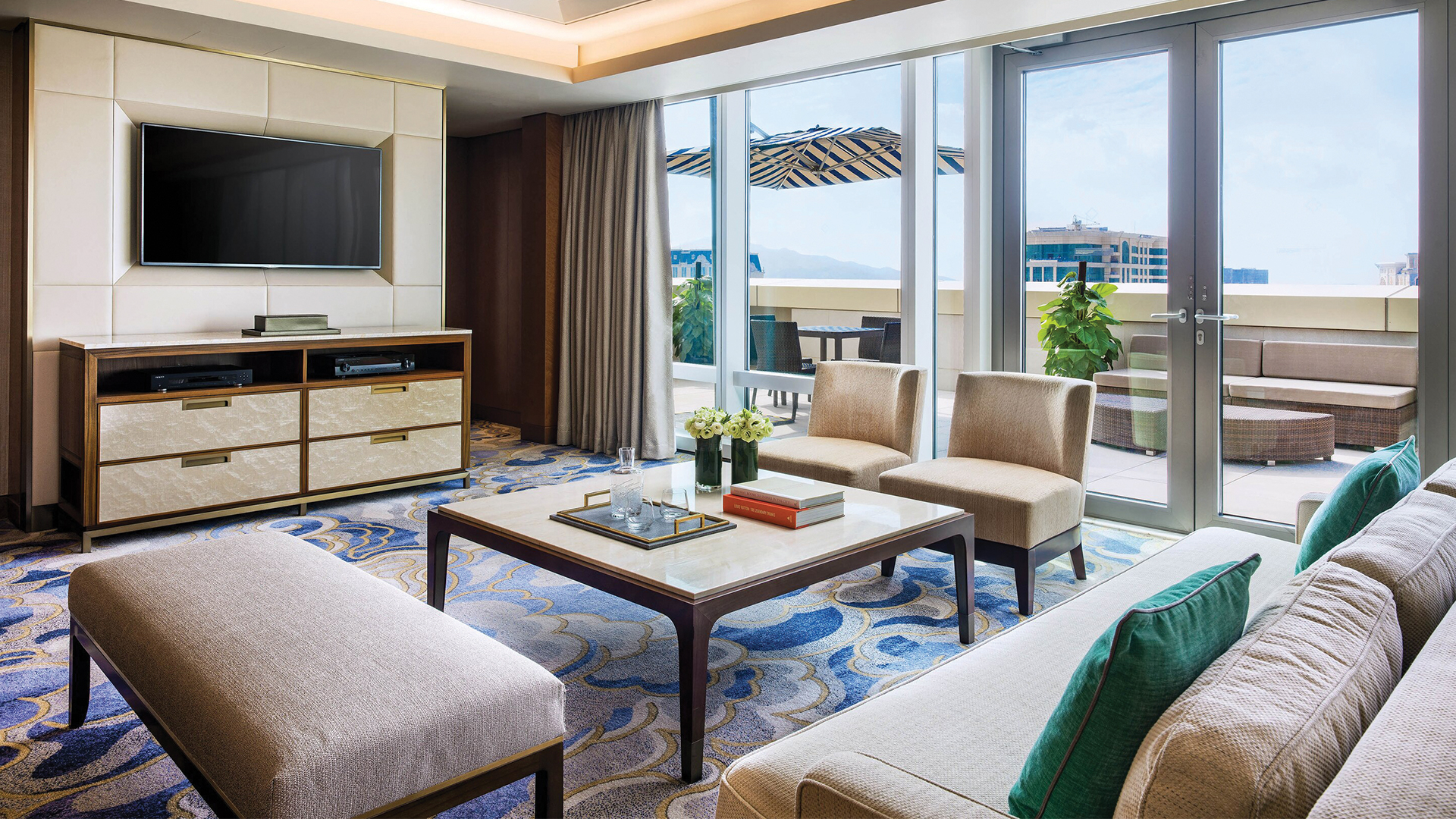 St. Regis suite with relaxing spaces inside and out