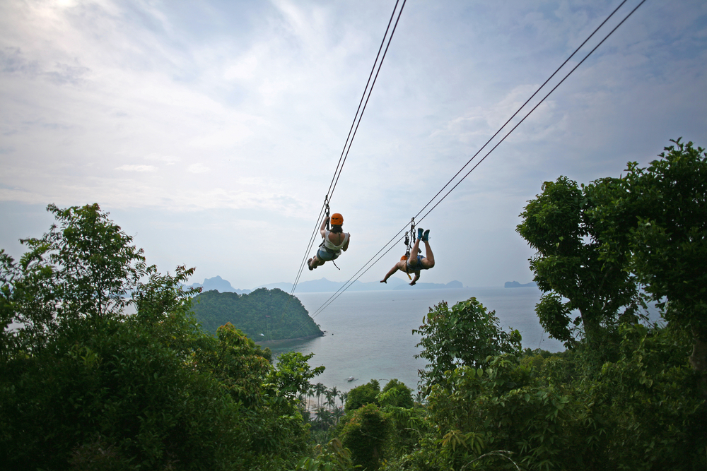 Zip lining in the islands
